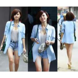 Áo khoác jean nữ nạm đinh vai giống midu - AV3053