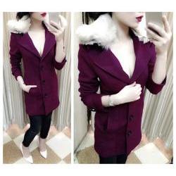 Áo khoác mangto nữ cổ vest phối lông sang trọng - AV3549