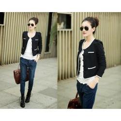 Áo khoác nữ màu đen viền trắng 2 túi - AV2514