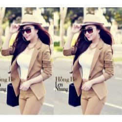 Áo khoác vest nữ màu be đậm - AV3310