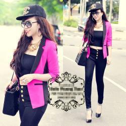 Áo khoác vest nữ màu hồng phối eo đen giống bella - AV2659