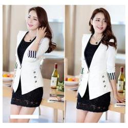 Áo khoác vest nữ tay dài phối sọc xinh xắn - AV3680