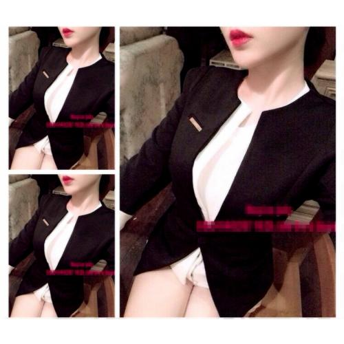 Áo khoác vest nữ tay lửng đính tag ngực sang trọng