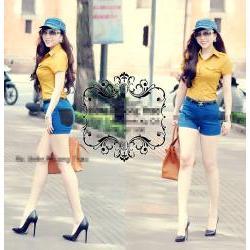 Áo sơ mi nữ tay ngắn màu vàng 2 túi giống bella - AV2657