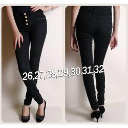 Quần jean nữ đen lưng cao 5 nút - AV3255
