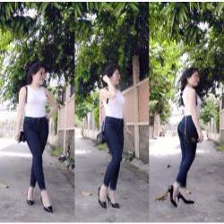 Quần jean nữ lưng cao chấm bi xắn lai xinh xắn - AV3489