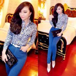 Quần jean nữ xanh lưng cao 1 nút cực xinh - AV3449