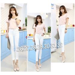 Quần jean trắng lưng cao 1 nút korea - AV3021